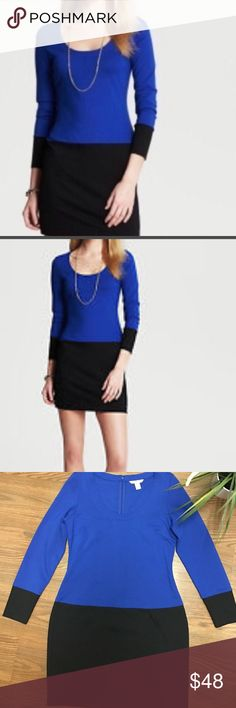 💙🖤BANANA REPUBLIC 💙🖤COLOR BLOCK DRESS💙🖤 This is the color black dress by banana republic scoopneck, Longsleeve, cobalt blue and black. Rayon/Nylon/Spandex Blend (Ponte Knit). Back zipping with eyelet hook closure. Has some give. Bust 17 inches without stretching, length 33 1/2 inches, hips 18 inches waist 15 1/2 inches.🦋💎BANANA REPUBLIC COLOR BLOCK DRESS💎🦋 Banana Republic Dresses Midi
