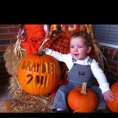 Carve your child's name and the year in a pumpkin each year for their Halloween pictures.  These pictures are great if you make photo calendars-- perfect for October!
