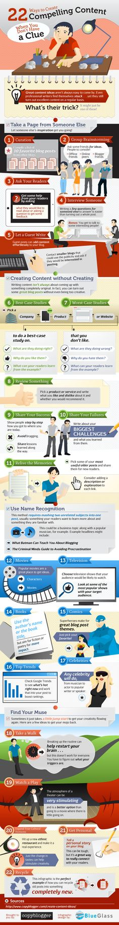 #Infographic #content  http://www.businesstrainingmadesimple.co.uk/blog/22-ways-to-inspire-content-when-you-dont-have-a-clue/ Copyblogger
