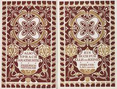 Henry van de Velde, cover design for NIETZSCHE, Also sprach Zarathustra, 1908. Insel Verlag, Leipzig
