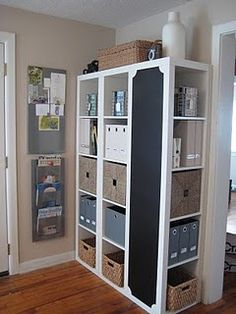 Love this idea for IKEA Expedit shelves. Turn one around and paint chalkboard on the side. YES!!!!!