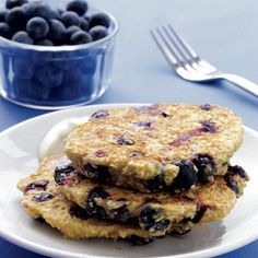 Blueberry Oat Pancakes with Maple Yogurt: Eat one of these morning meals, and burn calories all day long.