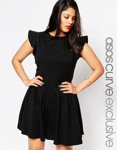 plus Size Romper with Frill Sleeve