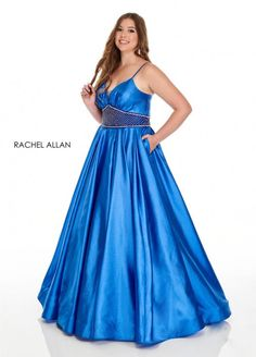 Style 7223 from Rachel Allan Curves is a shimmer crepe organza plus size ballgown that features beading on the waistband and skirt pockets.