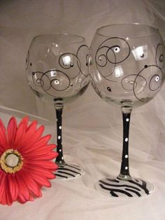 Zebra Wine Glasses With Swirls And Polka Dots