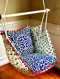 Hammock Chair Swing Hammock Chair, Hanging Chair, Sensory Play, Children's Nursery Swing- Reading Chair - for Kids and Adults! Diy Hammock, Hanging Hammock Chair, Swinging Chair, Chair Swing, Chaise Diy, Home Selling Tips, Creative Colour, Diy Chair, Chair Pillow