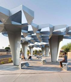 Boston studio Höweler + Yoon stitched together steel modules to form a faceted canopy shading an urban pocket park in the desert city of Phoenix, Arizona . Power generated by the solar panels is stored in batteries and used at night to illuminate the structure. Click image for link to full story and visit the slowottawa.ca boards >> http://www.pinterest.com/slowottawa
