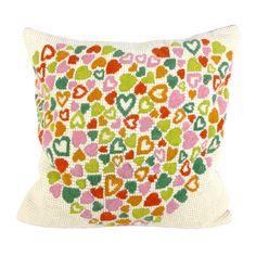 Multicolour heart tapestry cushion
