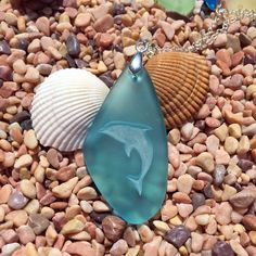 New! Dolphin engraved Sea Glass Pendant- a symbol Harmony and Balance - choose your color