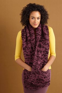 6 free patterns to knit on vacation: pocket scarf. Read more at LoveKnitting!