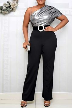Elegant casual high waisted solid color party cocktail jumpsuits clubwear Ladies one off the shoulder bell bottom one piece pant outfit jumpsuit playsuit The flare at the leg helps to slim the figure over all You'll be looking oh so glam in this beaut jumpsuit  jumpsuits  jumpsuits for women  jumpsuit outfit  jumpsuit outfit black girl  jumpsuit formal  jumpsuit fashion  wide leg jumpsuit #jumpsuits #jumpsuitoutfit #jumpsuitfashion #romperoutfit #romper #playsuit #playsuitoutfit Jumpsuit Outfit, Pants Outfit, Cocktail Jumpsuit, Formal Jumpsuit, One Shoulder Jumpsuit, Jumpsuits For Girls, Club Outfits, Clubwear, Playsuit