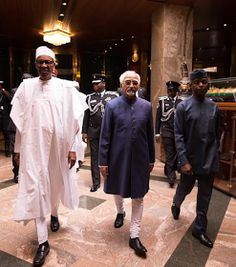 Earlier today President Buhari and Vice President Yemi Osinbajo received the Indian Vice President Mohammad Hamid Ansari at the State House Abuja today September 27th. You may also like:Latest news: Katisina Governor helps rescue accident victims(photos) photos after the cut:  Today's news: President Buhari receives India President at state house(photos).
