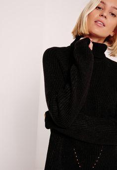 Missguided - Robe-pull courte noire à col roulé