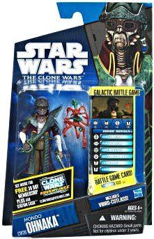 """Star Wars 2011 Clone Wars Animated Action Figure CW No. 39 Hondo Ohnaka by Hasbro Toys. $24.95. Exciting figure, based on the character from the animated series, is rendered in careful detail ? just ready and raring to fight in all of your most exciting """"intergalactic"""" battles!. Figure comes with vibro-cutlass and monkey accessories.. Hondo Ohnaka is the leader of a band of Weequay pirates and is always accompanied by Pilf Mukmuk, his Kowakian monkey lizard. The..."""