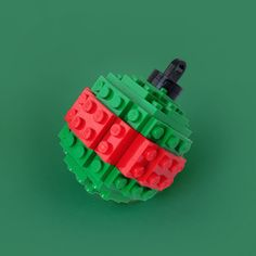 Green and Red Striped Ornament  Made from by ArcticBrickCompany