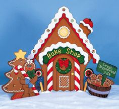 Christmas 3 Piece Gingerbread Bake Shop Wood Outdoor by chardoman, $175.00