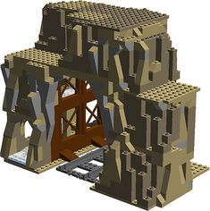 "This expandable railroad tunnel is based off of LEGO Lone Ranger set ""Silver Mine Shootout"". Lego Mountain, Lego Track, Modele Lego, Lego Zombies, Lego Wedo, Lego Star Wars, Lego Ship, Lego Construction, Lego Military"
