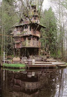 """This is my favorite treehouse, the Redmond Treehouse in Redmond, Washington. It is featured on the cover of Pete Nelson's book, """"Treehouses of the World."""" It is so organic and has grown in such a random, seemingly un-designed fashion. Being in this place would give one so much inspiration and a great sense of being at one with nature. Steve Rondel's children grew up before he could finish. He started it 20 years ago - now he is looking for grandchildren to give him an excuse to push on."""
