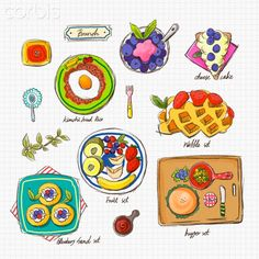Illustration icons related to brunch