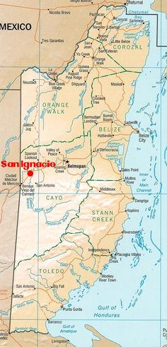 Map of Belize. If you didn't notice, San Ignaico is the big red dot.bus from belize city to san ignacio Belize City, Map Of Belize, Belize Travel, Belize Honeymoon, Belize Vacations, Belize Resorts, Countries In Central America, North America Map, South America