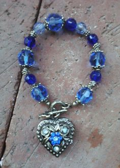 Blue Floral Pendant Heart Watch Bracelet, Cobalt, Cornflower & Gunmetal $18.00