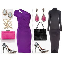 A fashion look from December 2012 featuring purple dress, gray turtleneck i River Island. Browse and shop related looks.