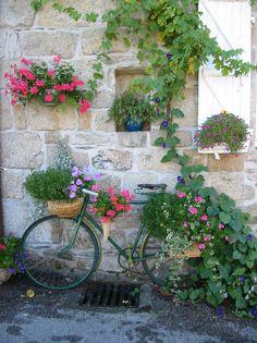 oude fiets behangen met bloemenmandjes.