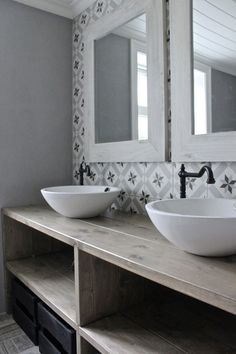 salle-de-bain-carreau-ciment | salle de bain | Bathroom, Vintage ...