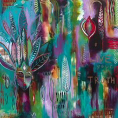 """""""Live Your Truth""""  48"""" x 48"""", acrylic on canvas by Flora Bowley"""