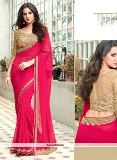 Online saree shopping India at ​sarees palace. cho​ose from a huge collecti​on of designer, ethnic, ca​sual sari, buy sarees online India for all occasions. Pink Beige, Beige Color, Magenta, Half Saree Designs, Saree Blouse Designs, Indian Beauty Saree, Indian Sarees, Pink Suits Women, Plain Saree With Heavy Blouse