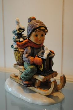 1960's German Porcelain Goebel Hummel Ride Into Christmas By Gerhard Skrobek