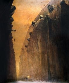 Gallery of the dead. Surreal painting by Zdzislaw Beksinski, 1972