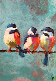 bird painting acrylic Excited to share the latest addition to my shop: Just Me and the Chickadees Original Acrylic Painting 5 X 7 Bird Painting Acrylic, Love Birds Painting, Acrylic Painting For Beginners, Simple Acrylic Paintings, Acrylic Canvas, Nature Paintings, Painting Art, Painted Canvas, Orange Painting