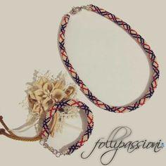 Folli Passioni  set collana e bracciale,  bead crochet,  in stile burberry con spiegazioni per la realizzazione.