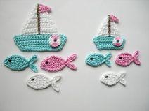 Häkelapplikation, Segelbootset mit Fischen