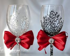 Silver and Pearl toasting flutesSparkle White by DiAmoreDS on Etsy