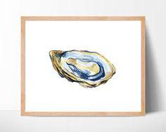 Ostrica acquerello n. 102, Oyster Shell stampa, Beach Art, Oyster Arte pittura, Costiera, Oyster Shell Beach, decorazione casa, Oyster Decor
