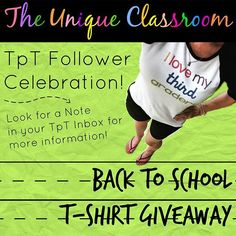 "I'm so excited to announce my TpT Follower Giveaway just in time for #BackToSchool!! Have you seen my ""I love my third graders"" baseball T? Would you like one of your own? One can be personalized for the grade(s) you teach!!  If you follow my TpT store keep an eye out for a note from me explaining how you can enter to win AND how you can earn multiple entries! If you still haven't followed my store there's still time! I won't send out my note until tomorrow.  May the odds be ever in your…"