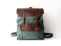 Genuine Cow leather bag/ canvas bag/ BACKPACK/ by JacquelineStudio, $54.99