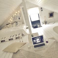 Attic rooms are usually the most appealing interiors in the whole house. You can use them for bedroom, storage room, entertainment room, rec room, or even bathroom! Check out these clever use of attic room ideas! Loft Room, Bedroom Loft, Dream Bedroom, White Bedroom, Cozy Bedroom, Bedroom Inspo, Loft Bed Room Ideas, Attic Bedroom Decor, Attic Bedroom Designs