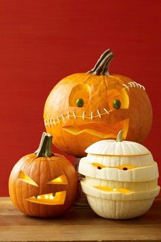 Materials • Pumpkin• Washable marker• Knife or pumpkin carver• 8 to 10 toothpicks, snapped in half• Damp cloth• Bamboo skewer or awl• 30 to 40 white Q-tips (fluffy parts cut off)• Olives or other small, soft objects (for eyes) Directions 1. Draw eyes, mouth and scar (an angled horizontal line that goes all the way around) on the pumpkin with the marker. 2. Following the scar line, cut the pumpkin in half. Scoop out the seeds; discard. 3. Insert many half-toothpicks into the bottom part of…