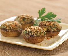 Stuffed Mushrooms with Tre Stelle® Ricotta Cheese, Castello® Traditional Blue Cheese, and Tre Stelle® Grated Parmesan Cheese Appetizer Dips, Yummy Appetizers, Appetizer Recipes, Cheese Recipes, Veggie Recipes, Side Dish Recipes, Side Dishes, Blue Cheese, Tasty Dishes