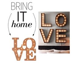 """""""Bring It Home: LOVE Marquee Light"""" by polyvore-editorial ❤ liked on Polyvore"""