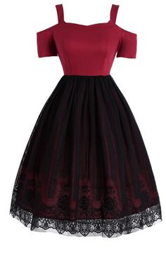 Lace Panel Vintage Overlay Dress - Cheap Fashion online retailer providing customers trendy and stylish clothing including different categories such as dresses, tops, swimwear. Source by neko_xp - Teen Fashion Outfits, Girly Outfits, Pretty Outfits, Stylish Outfits, Dress Outfits, Fashion Dresses, Stylish Clothes, Sporty Outfits, Cute Prom Dresses