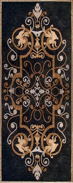 Arabesque Geometric Design - Mosaic Patterns and Rugs- Black and Gold Marble Mosaic Stones  Buy Affordable Mosaic Rugs from Mozaico and have your Home Decor filled with Luxury!   Too pretty to  walk on, I would use it as a wall hanging. (depending on the size)