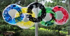 {Olympic Craft} Coffee filter easy olympic rings & sun-catcher. A kid friendly activity.