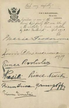 Group of signatures by various exiled Romanov family members on board the H.M.S. Marlborough, which took them to safety in England after the Revolution.