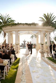 St. Regis Monarch Beach Hotel, Dana Point, CA. has amazing outdoor ceremony spaces and plenty of photo ops!