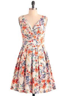Floral Palate Dress in Fire Bouquet, #ModCloth