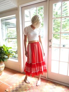 Vintage country swing skirt in red and white checks by BopandAwe, $28.00 #vintage #vintagelove #style #fashion #cottagechic